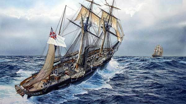 CSS Alabama chasing a clipper ship
