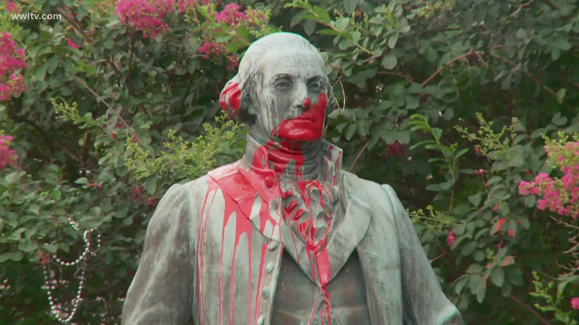 40 President Washington Statue defaced