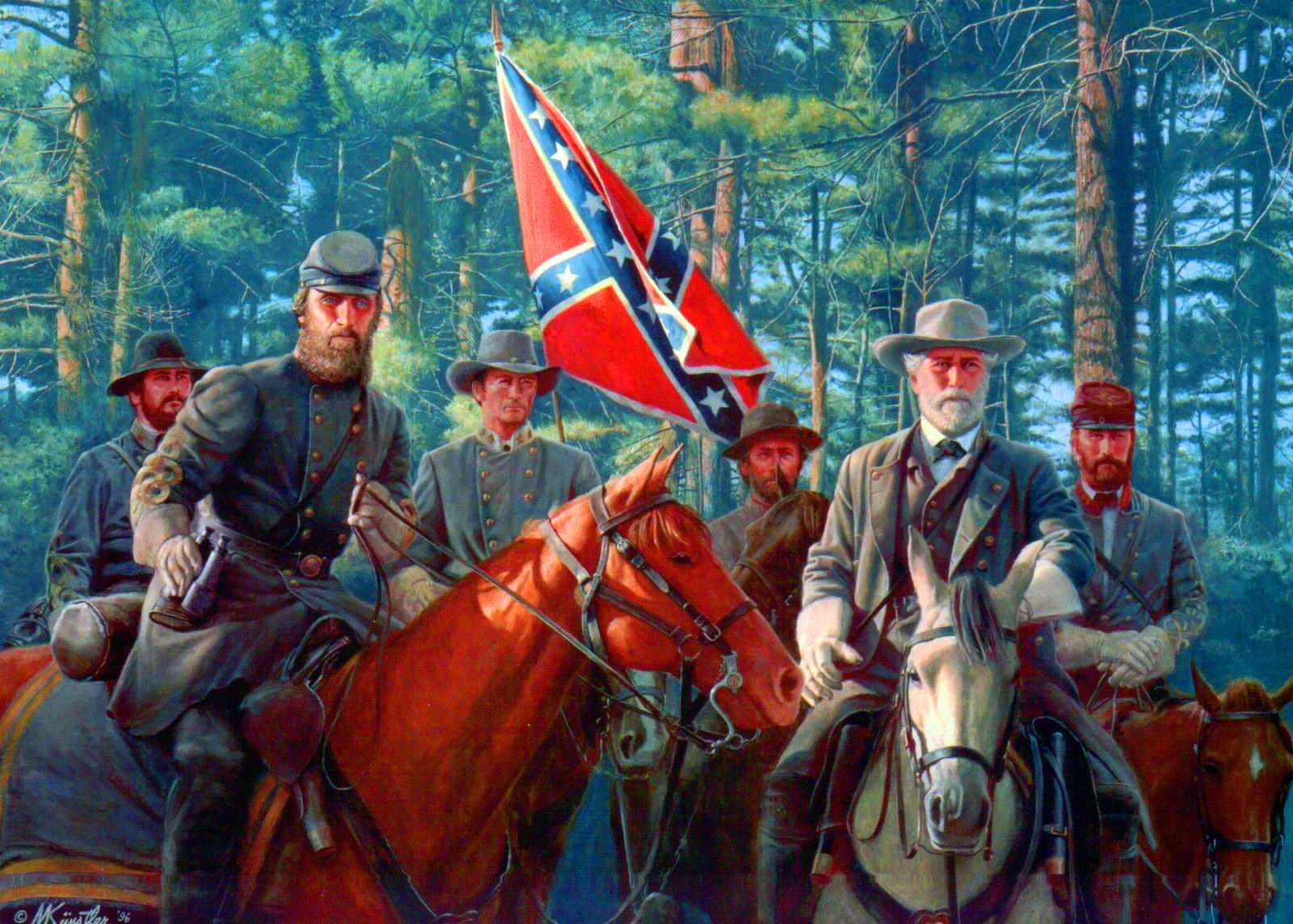 18 Stonewall Jackson Riding his Horse with Robert E Lee