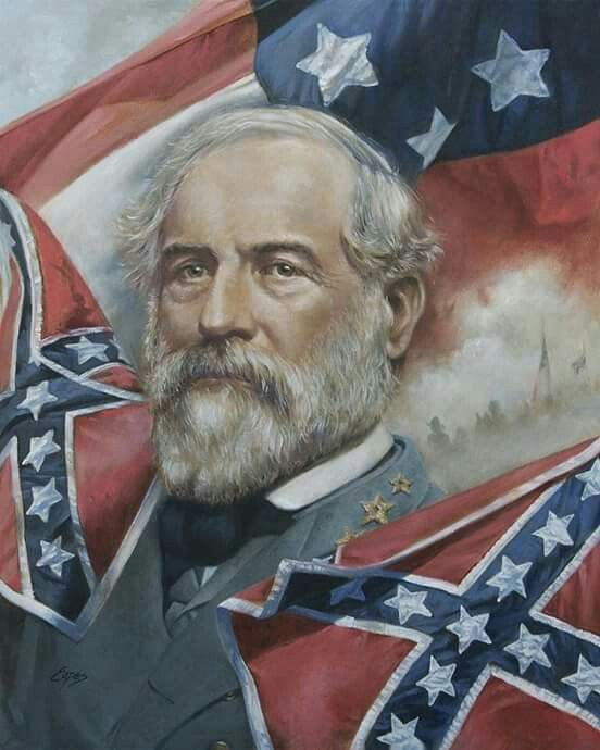 92 Robert E Lee with Confederate Flags and Army of Virginia Flag
