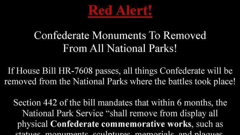 HR 7608 Bill to remove Confederate Statues Confederate Monuments