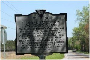 Historical marker for the Battle of Burden's Causeway at the intersection of River and Plow Ground roads on Johns Island