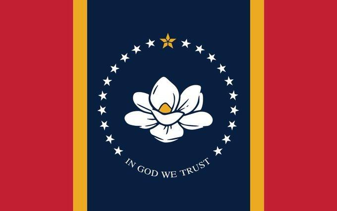 Mississippi New Flag Magnolia Flower replacing Confederate Flag