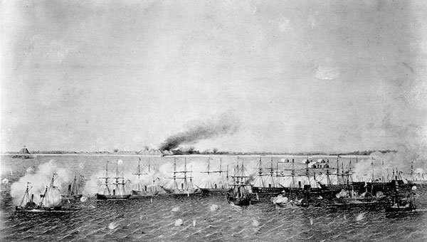 Union attack on Fort Fisher Dec 1864 The Little Hattie ran through Yankee Fleet
