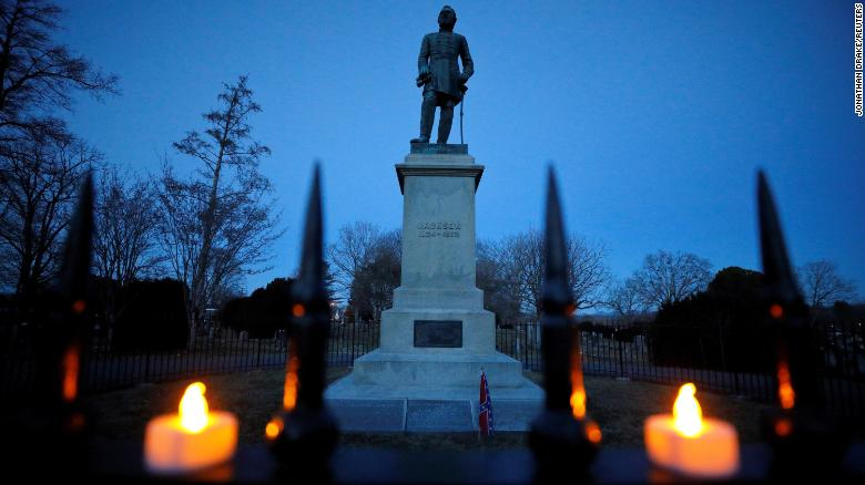 """The statue and resting place of General Thomas """"Stonewall"""" Jackson seen here during a vigil for the Confederate general in Lexington, Virginia."""