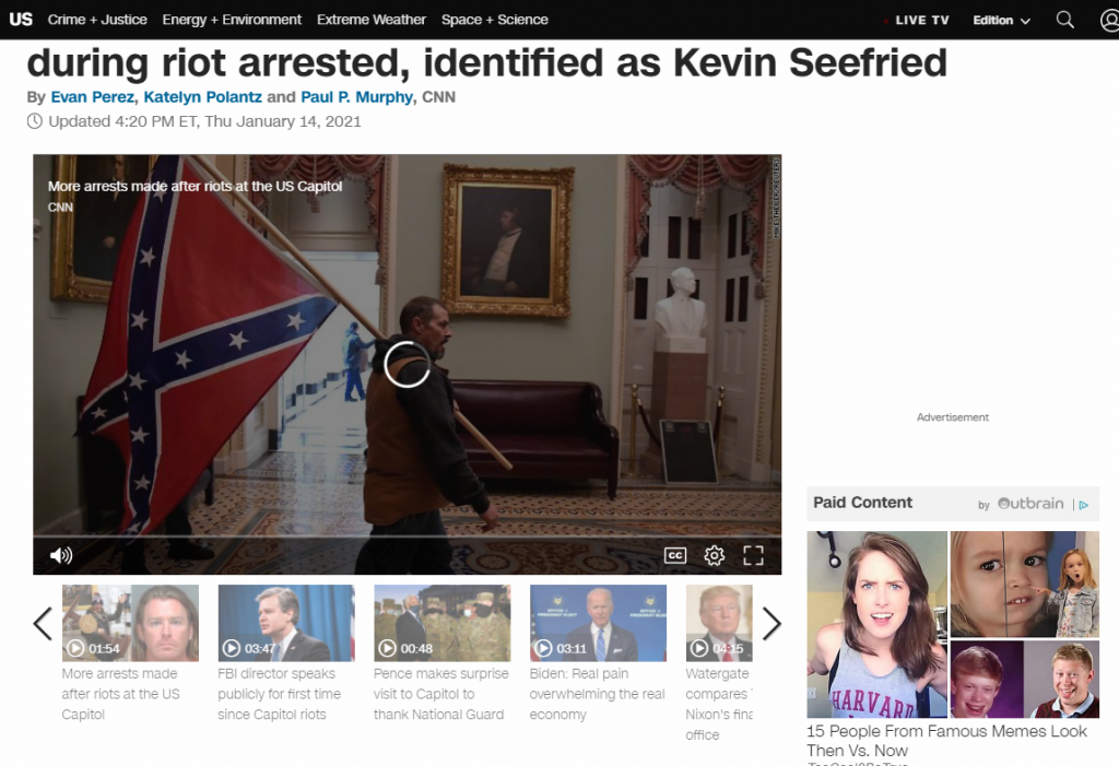 Kevin Seefried Man Carrying Confederate Flag inside the Capitol