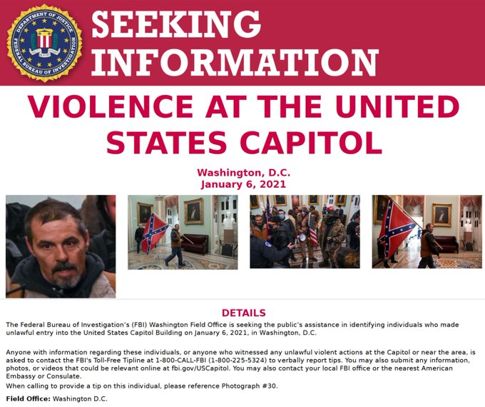 FBI Looking for the man with the Confederate Flag inside the Capito